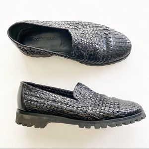Cole Haan Vibram Loafers Woven Black 8.5 Leather
